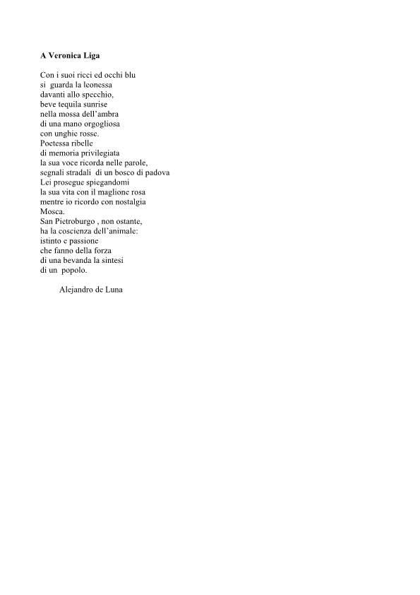 Alla poetessa Veronica Liga